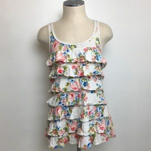 Abercrombie and Fitch Floral Ruffle Tank